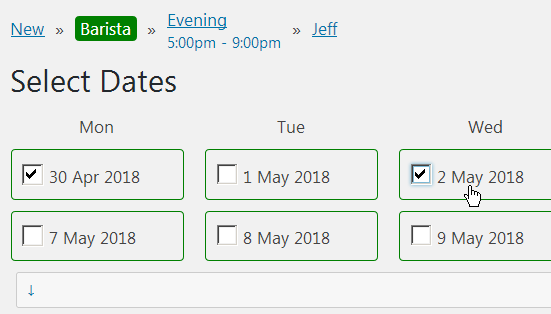 Recurring shifts options