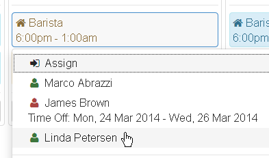 Assign staff from calendar view
