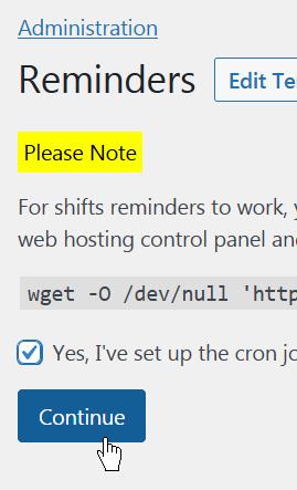Configure shift reminders