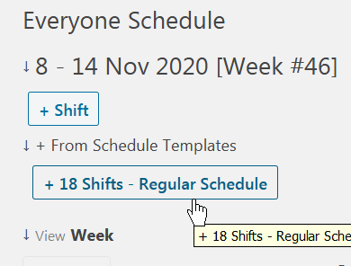 Create new shifts from schedule template